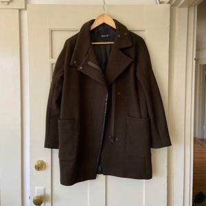 Madewell olive green city grid cocoon coat jacket